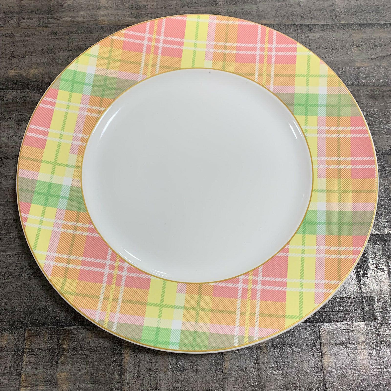 222 Fifth Spring Easter Plaid rose jaune vert Porcelain Dinner Plates Set of 4