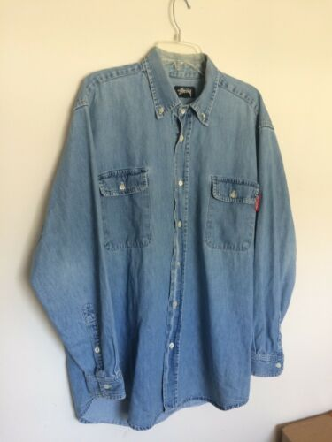 Vintage Stussy Denim Button Up LS Shirt Light Blue