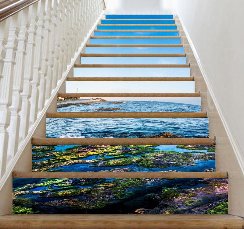 3D Ozean Dorf 76 Stair Risers Dekoration Fototapete Vinyl Aufkleber Tapete DE
