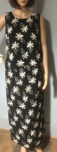 Windsmoor-Femme-Floral-Jupe-et-Top-Costume-Taille-UK-10-Beige-Noir-Neuf