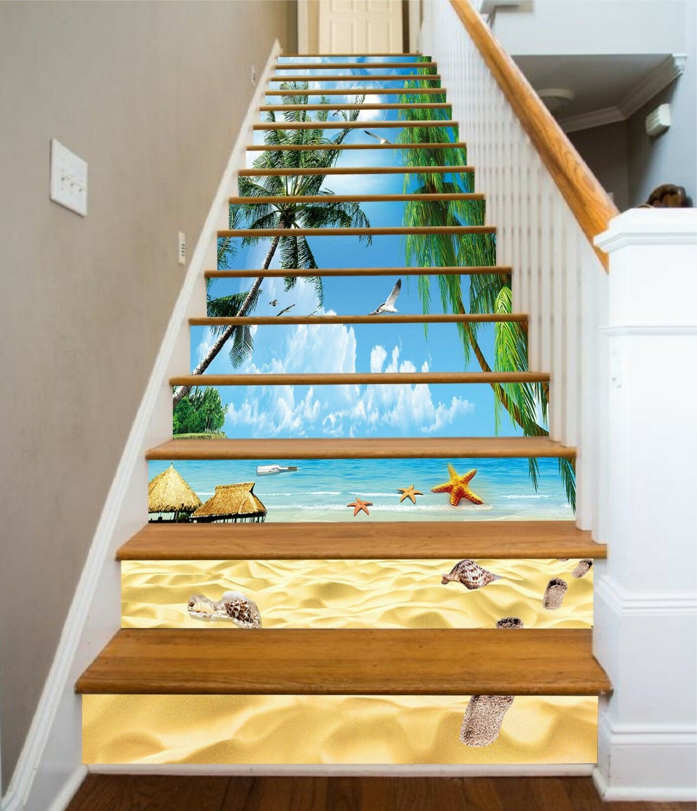 3D Beach Sky 2 Stair Risers Decoration Photo Mural Vinyl Decal Wallpaper US