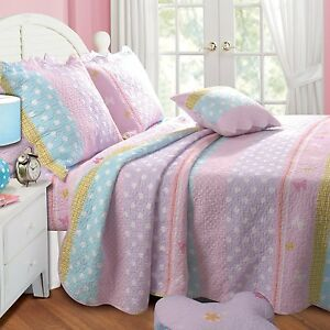 Polka Dots Full Queen Quilt Set Girls Butterfly Flower