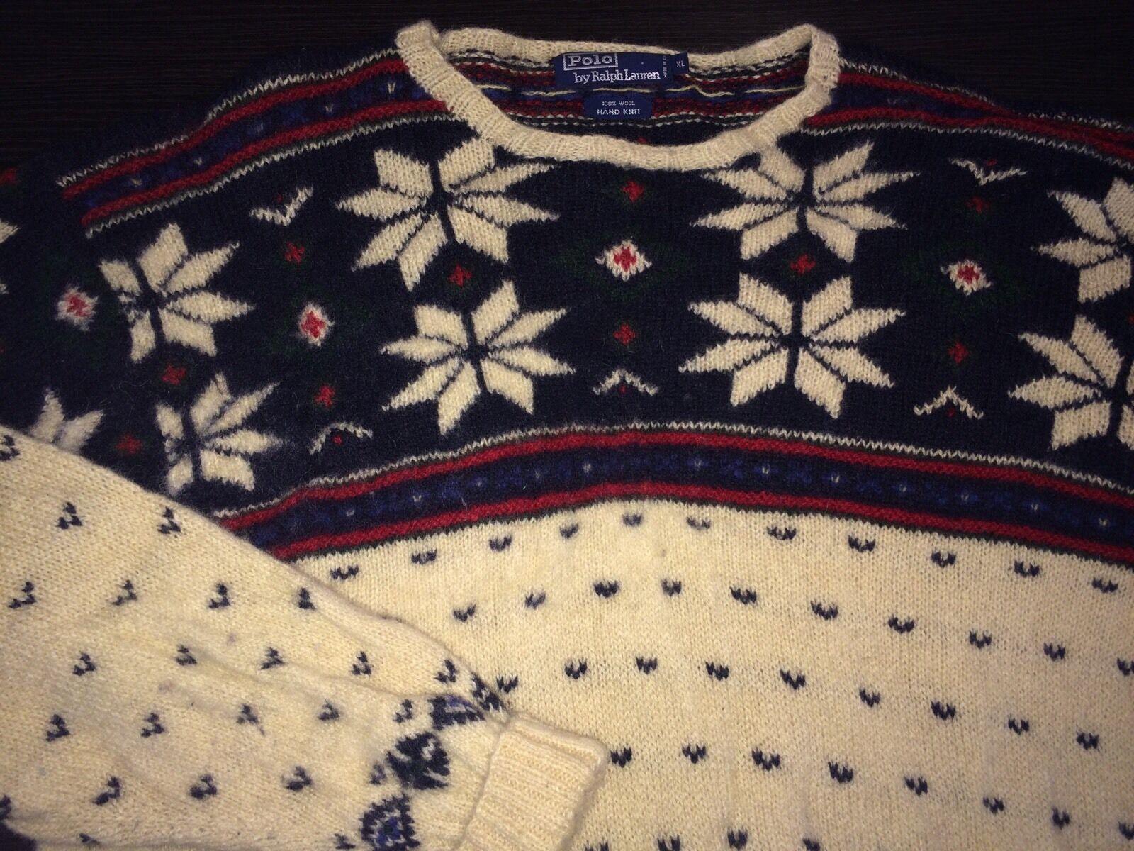 Vintage Polo Ralph Lauren 100% Wool Snowflake Wing Sweater HandKnit XL Used