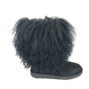 a4b104a4703 Details about Ugg Lida Mongolian Sheepskin and Suede 1017516 Black Woman's  Boots Size 5