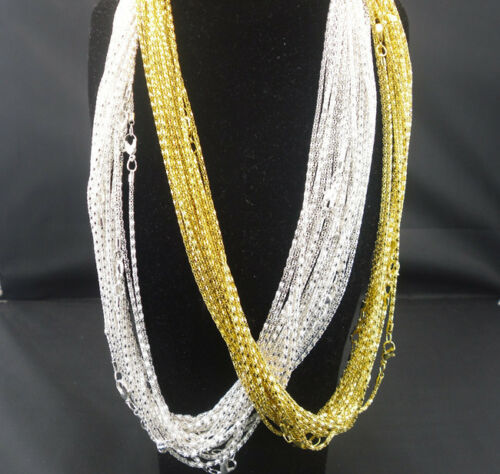 Fashion Silver golden Plated Snake Chain With Lobster claw Clasp Necklace 16.5/'/'