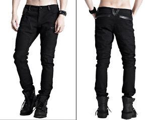 EN-STOCK-Pantalon-jeans-gothique-punk-biker-cuir-plis-skull-mode-PunkRave-Homme