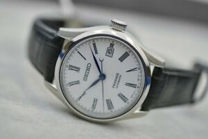 Details About New Seiko Presage Automatic White Dial Black Leather Strap Men S Watch Spb047