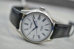 Details About New Seiko Presage Automatic White Dial Black Leather Strap Men S Watch Spb047