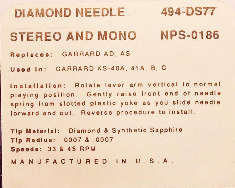 494-DS77 STYLUS for Garrard AD AS KS-40A Garrard 41A 41B 41C GDS-1 Garrard GDS-2