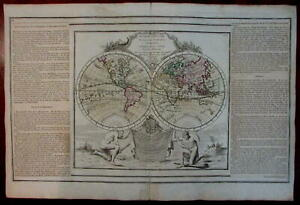Decorative-World-double-hemisphere-1778-Sea-of-West-Mer-de-L-039-Ouest-myth-pre-Cook