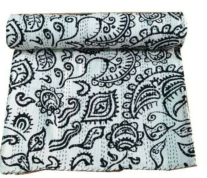 Queen Floral impressioned Kantha Throws Indian Hand Stitched courtepointes litspread Kantha