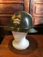 Vintage Msa Fiberglass Skullgard Hard Hat Original Captain Military Eagle Badge