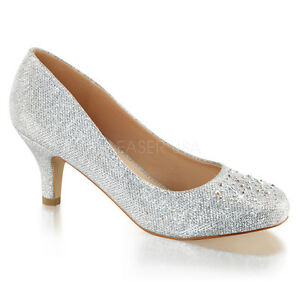 9bd4dd47899 Image is loading PLEASER-Sexy-Shoes-Rhinestone-Silver-Shimmer-Fabric-Prom-