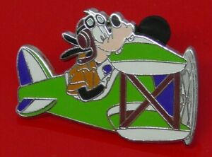 Used-Disney-Enamel-Pin-Badge-Goofy-Character-in-Plane-Aeroplane