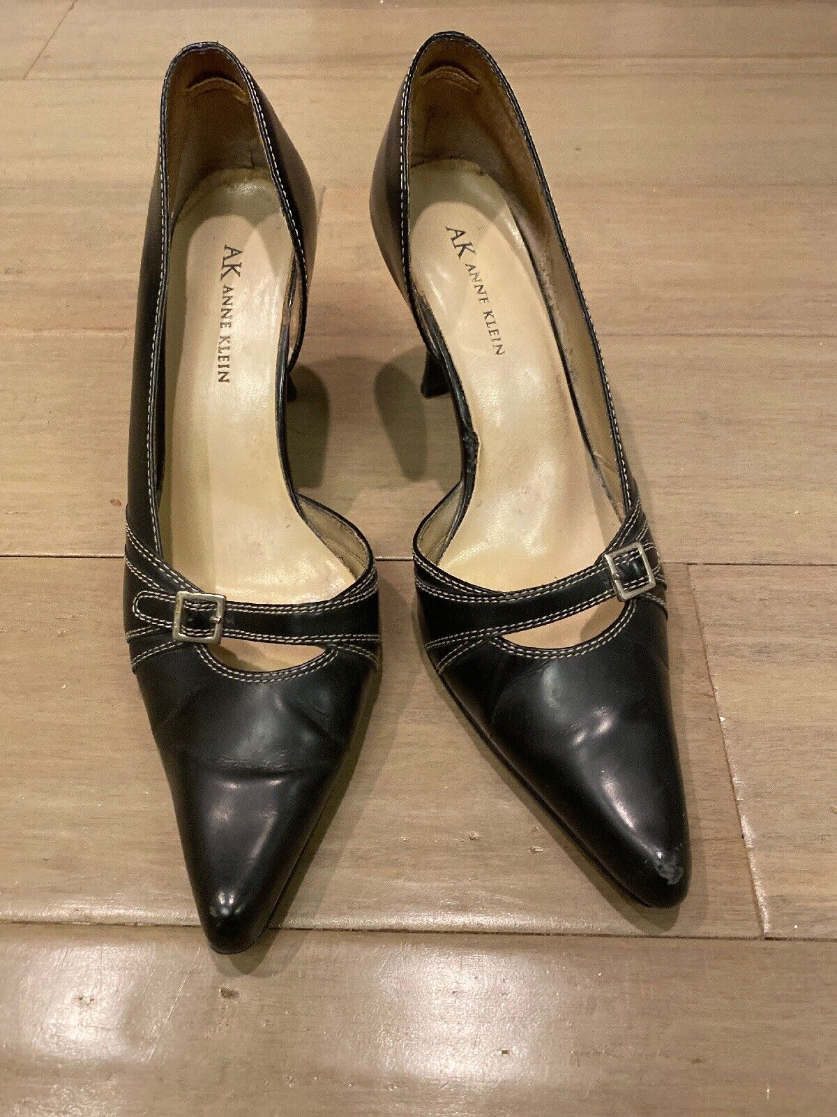 ANNE KLEIN Women's Black Leather Pointed Pumps Heels Shoes Size 7.5