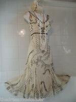 PRINCIPLES Vintage 1920's Deco Cream Downton Abbey Net Bead Sequin Gatsby DRESS