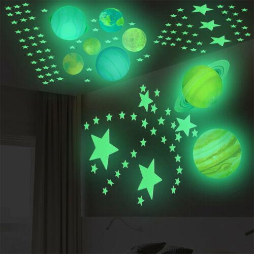 1 Set 100 Stars 8 Planet Luminous  Wall Stickers Glow In Dark Bedroom Wall Decal