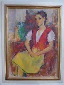 Ion-MUSCELEANU-1903-1997-Femme-Paysanne-sur-carton-1990