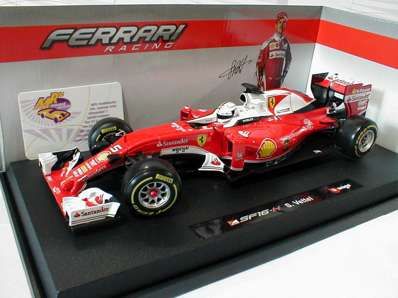 Bburago 18-16802R   Sebastian Vettel Ferrari SF16-H  5 Formel 1 2016 1 18 NEU