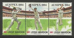 AUSTRALIA AUSIPEX 1984 EXHIBITION CRICKET STAMPS depicting LILLEE MARSH CHAPPELL