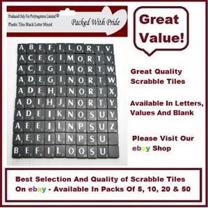 Letter U THESE TILES ARE PRODUCED AND PACKAGED ESPECIALLY FOR POLYBAGSTORES LIMITED® BLACK PLASTIC SCRABBLE TILES WITH WHITE LETTERS PACK OF 20 LETTER U