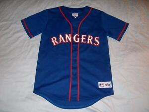 on sale 2f14b a366e Details about Alex Rodriguez 3 Texas Rangers MLB Majestic Blue Baseball  Jersey Boy's Medium