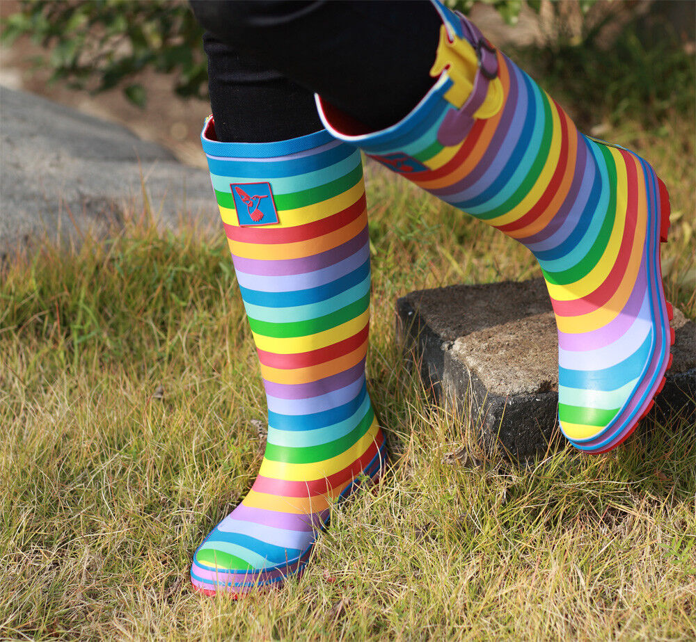 Promotion Rain boots Rainbow Stripes Knee-High Boots UK Brand Great Quality