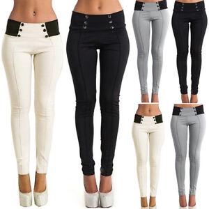 Mujer-Cintura-Alta-Ajustado-Fino-Leggings-Pantalones-Largos-Elastico-Tipo-Lapiz