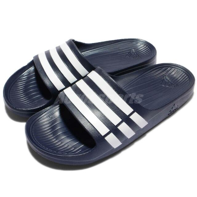 more photos 79ac1 4b969 adidas Duramo Slide Navy White Mens Womens Sports Slide Slippers Sandals  G15892