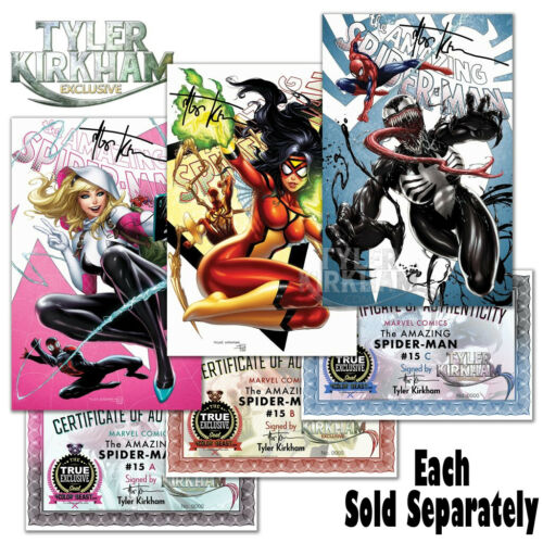 AMAZING SPIDER-MAN #15A 15B 15C ~ SIGNED BY TYLER KIRKHAM ~ Sold Separately