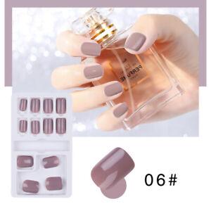 Pure-color-French-False-Nails-Art-Acrylic-Full-Cover-Tips-Manicure-Glue-MC