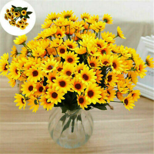 15Heads Sunflower Bouquet Artificial Silk Fake Flower Wedding Home Floral Decors