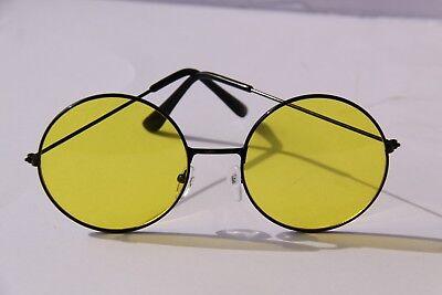 Sonnenbrille Rund GlÄser Gelb 5,1 Cm Rahmen Schwarz Aus Metall