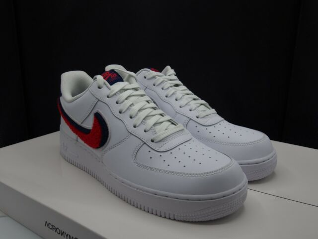 Nike Air Force 1 '07 Lv8 Chenille Swoosh 823511 106 White Red Blue Void Size 9