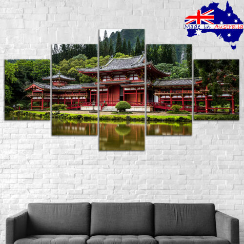 Japanese Castle Lake Canvas Print Painting Framed Home Decor Wall Art Poster 5P