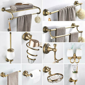 Antique Brass Carved Bathroom Accessories Set Bath Hardware Towel Bar mset010