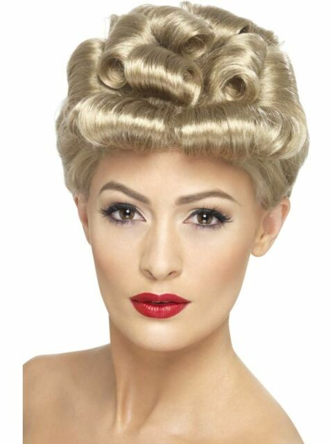 Short Blonde Curly Wig, 40s Vintage wig 1940's, WW2