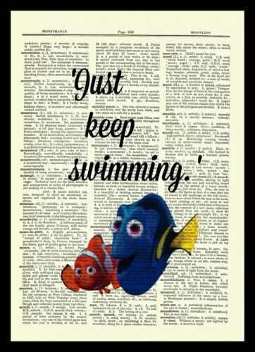 Finding Nemo Dictionary Art Print Poster Picture Disney Pixar Dory Children Fish