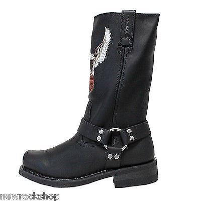 hautes en noires Darren Harley hommes Logo cuir Bottes VTT Davidson Eagle pour Rnn46UOt