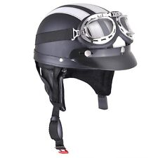 Retro Motorcycle Scooter Harley Half Helmet Open Face Goggles Visor Scarf White