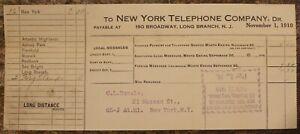 Vintage New York Téléphone Compagnie Paid Réception Novembre 1910 ~# 521B