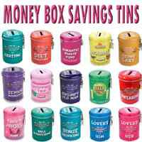 INSTANT FINES NOVELTY MONEY TINS VARIOUS DESIGN FUND BOX WITH LOCK & KEY PAY UP