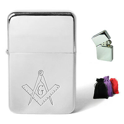 Masonic Symbol Engraved On Petrol Lighter Personalised Engraving Present Gift