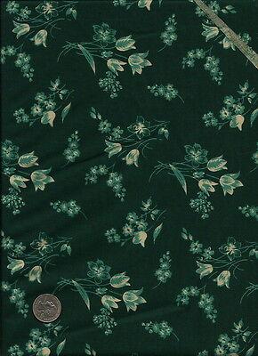 Nice Tulip /& Floral Print drk green /& greenish teal on tan Fabric