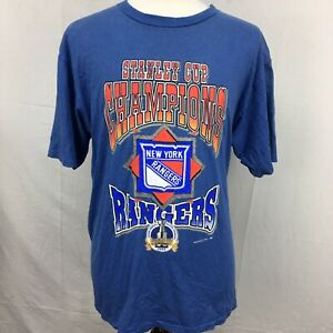 VTG-1994-New-York-Rangers-NHL-Hockey-Mens-Blue-Striped-T-Shirt-sz-XL-90s-Champs