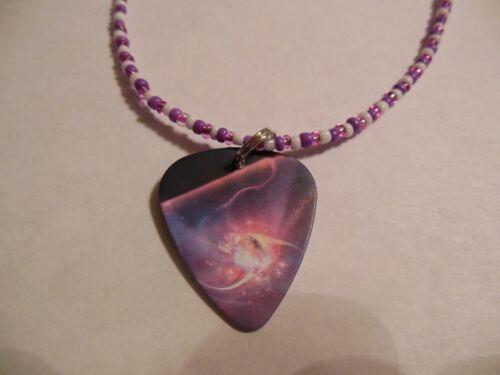 "Celestial - Purple , Pink 20 /"" Beaded Guitar Pick Necklace"