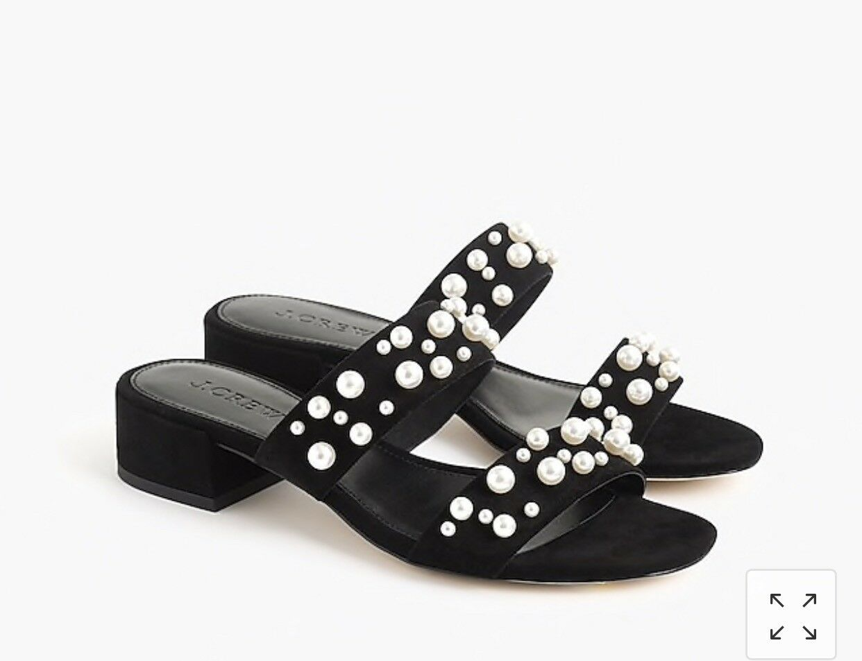 J.Crew Double-strap suede slides with pearls, Black, size 8, NIB