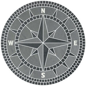 """96"""" Handcrafted Slate Tile Classic Compass Rose Mosaic Medallion Black & Gray"""