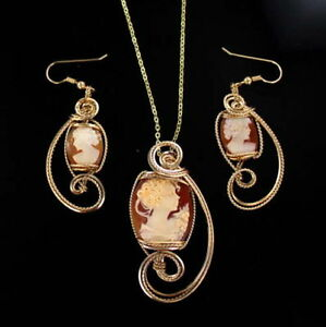 d25a1646b Image is loading VINTAGE-SHELL-CAMEO-EARRINGS-PENDANT-NECKLACE-14KT-ROLLED-