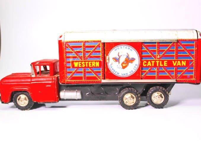 Vintage Japanisch Hayashi Blech Reibung Western Tandem Lastwagen Co Limitierte